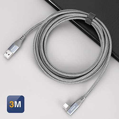 Siwket USB C Kabel 90 Grad Winkel [3M] USB Typ C Ladekabel Nylon USB A auf C Datenkabel für Samsung Galaxy S10 S9 S8, Note 9/8, A50,LG G6 G7,Sony Xperia,Huawei,Switch,HTC 10 U11,Xiaomi Mi 8 usw.Grau