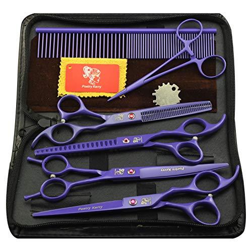 Kit de tijeras de peluquería para mascotas, juego de peluquería de 7 pulgadas, para perros, gatos, tijeras de corte, tijeras de adelgazamiento, tijeras curvas, peine de aseo