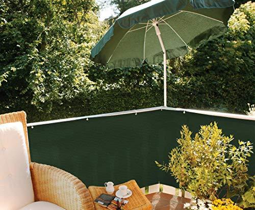 Balkonsichtschutz aus PE Material, grün mit Höhe 90cm x Länge 500cm - Sichtschutz Balkon Terasse Garten Sicht Schutz Sonnenschutz Windschutz Sichtschutzmatten Lärmschutzmatten Staubschutzmatten Kunststoffmatten Balkonsichtschutz