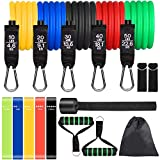 Resistance Bands Set, colorsmoon 16PCS Exercise Band for Working Out Up to 150 lbs, for Indoor and Outdoor Sports, Fitness, Suspension, Speed Strength, Baseball Softball Training, Home Gym, Yoga