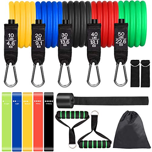 Colorsmoon Resistance Bands Set 16PCS Exercise Band for Working Out Up to 150 lbs, for Indoor and Outdoor Sports, Fitness, Suspension, Speed Strength, Baseball Softball Training, Home Gym, Yoga