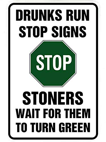 Drunks Run Stop Signs – Funny Metal Sign for your garage, man cave, yard or wall. By Sign Dragon