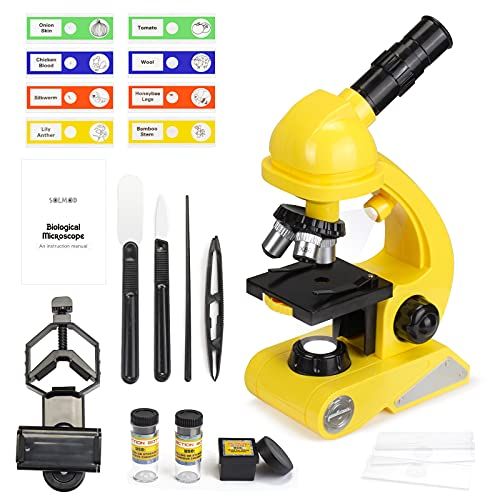 Microscope for Kids, Dual Light Microscope Science Kit for Beginners Educational STEM Toy with 80X-1200X Magnification, Prepared and Blank Slides for Boys Girls