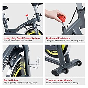 PASYOU Indoor Cycling Bike Stationary Cycle Bike Belt Drive Exercise Bike with Magnetic Resistance for Home Cardio Workout Bike Training( Color: Gray )
