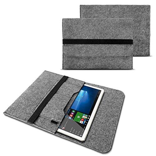 NAUC Tasche Hülle für Trekstor SurfTab Duo W1 W2 W3 Filz Sleeve Schutzhülle Tablet Hülle Cover Bag mit Innentaschen & sicheren Verschluss, Farben:Grau