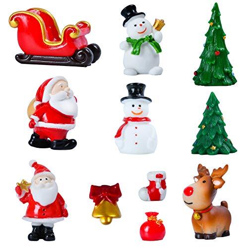 KATELUO 11 Mini Adornos Navideños,Jardín Miniatura Navidad,Minifiguras Decorativas de Resina en Miniatura,decoración de Mesa de Navidad,Muñeco de Nieve,Miniaturas de Navidad para Regalo.