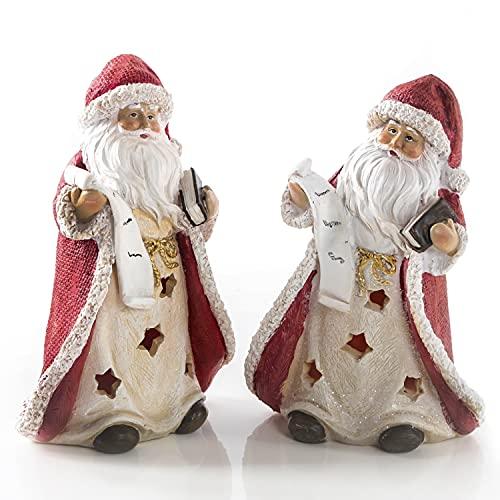 Logbuch-Verlag 2 statuette di Babbo Natale in ceramica rosso bianco – statuine decorative natalizie da appoggiare e da regalare 14 cm