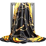 NUWEERIR Womens Large Satin Square Scarf Silk Feeling Hair Wrapping Gift Designer Scarf 35x35 Inches (44)