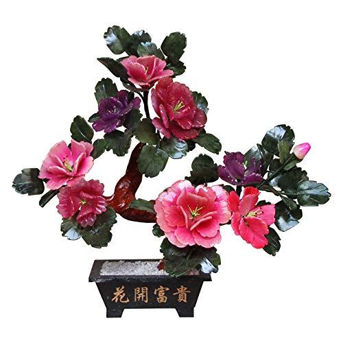 CJshop Planta Artificial Simulación Potted Jade Talla Peony Flower Bonsai Decoración de Escritorio Artificial Bonsai Tree Faux Plant Potted Plant For Home Office Decor Árboles Artificiales