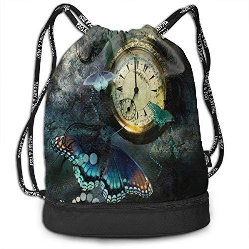 OPLKJ Mochila con cordón con estampado de reloj, Mochila deportiva para gimnasio Mochila de bolsillo con bolsa de viaje
