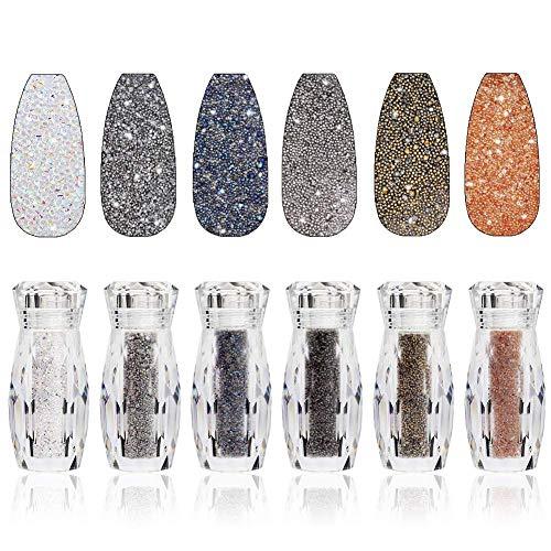 6 Bottiglie Nail Pixie Crystals Multicolor Micro Caviar Beads Mini Glass Rhinestone per Nail Art Design Metallica Rock Decorazioni per unghie 3D Forniture artigianali fai da te