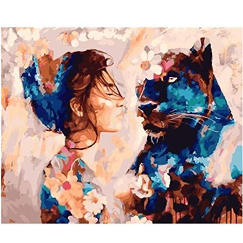 ANpygh DIY Pintar por Numeros para Adultos Niños,Pintura al óleo Kit con Pinceles y Pinturas,Lienzo Regalo de Pintura para_Niña y Animal(40x50cm) Sin Marco