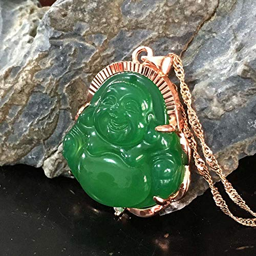 Green Jade Buddha Pendant Necklace Gold Plated Hip Hop Jewelry