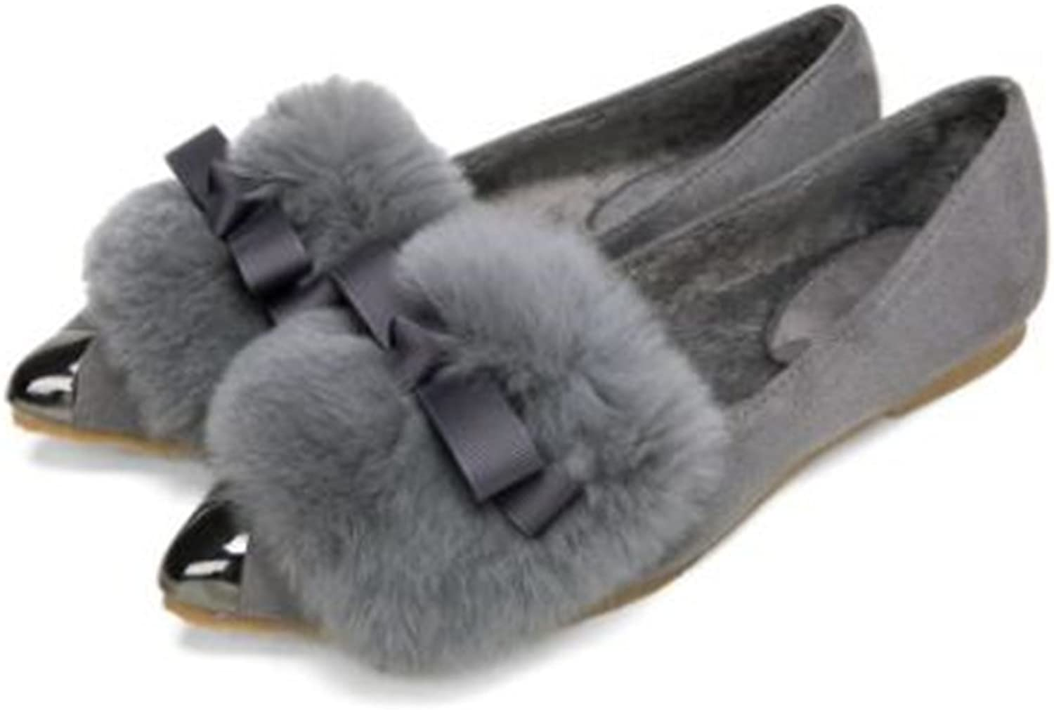BeautyOriginal Women Pointed Toe Flat shoes Belt Buckle Warm Fur comfortableSynthetic Slip On Loafers shoes