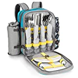Goods & Gadgets - Zaino da picnic per 4 persone, con coperta da picnic, posate, stoviglie ...