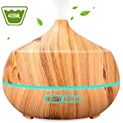 INSMART Essential Oil Diffuser, 400ml 4 Timer Ultrasonic Aroma Aromatherapy Diffuser Humidifier - 7 Color LED Lights, Waterless Auto-Off for Yoga,Salon,Spa,Office,Bedroom