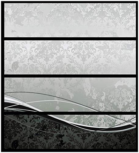 Wallario Möbelfolie/Aufkleber, geeignet für IKEA Malm Kommode - Grau-Schwarze Schnörkelei mit Wellen mit 4 Schubfächern