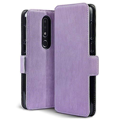 TERRAPIN, Kompatibel mit Nokia 6.1 Plus Hülle, Leder Tasche Hülle Hülle im Bookstyle mit Standfunktion Kartenfächer - Lila
