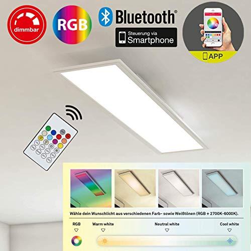 Briloner Leuchten 3033-016-Plafón De Panel, empotrable LED, 18W, regulable, control de temperatura de color, control de aplicaciones, Bluetooth, rectangular 59.5cm, plástico, 18W, color blanco