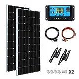 YUANFENGPOWER Kit de panel solar de 200 vatios 12 v 2 piezas Módulo solar monocristalino de 100 vatios 18 v + controlador solar PWM 20A para barco, caravana, autocaravana, camping, cargador de 12 V