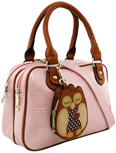 KukuBird Handtasche mit Eulen-Motiv, Kunstleder, Designer-Handtasche, Pink - hellrosa - Größe: Large