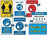 Señalización COVID 19 | Super Pack Ahorro 30 Señales Coronavirus | 7 Distancia, 8 Dispensador, 7 Mascarilla, 4 Higiene Manos, 4 Aforo | Autoinstalables| 21x30 cm | Dtos. Cantidad