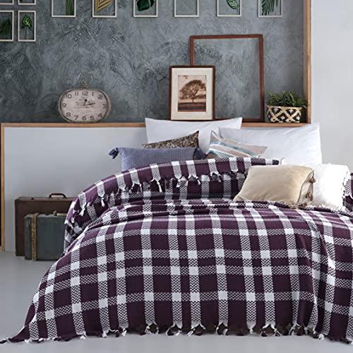 Mixibaby Tagesdecke Wohndecke Wendedecke Kuscheldeck Sofadecke Couchdecke, Farbe:Violett Variante 2, Design:Fischgrätendesign
