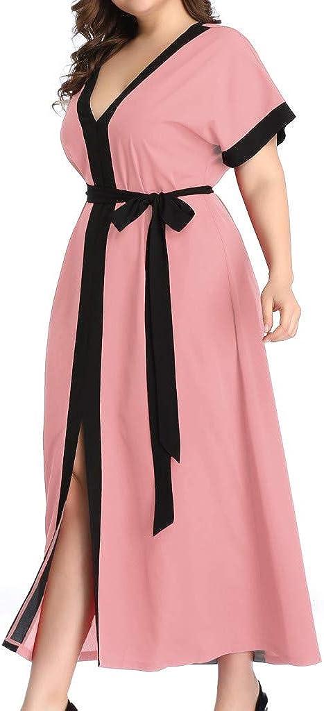 Bandage Dresses, Limsea Women Summer Chiffon Plus Size V-Neck Color Block Casual Short Sleeve Dress