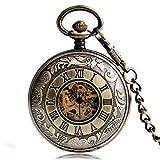 KJFB Reloj de bolsillo mecánico Steampunk Relojes de bolsillo para hombre y mujer, bronce a la moda, talla de amigo, regalo de Navidad (color bronce)