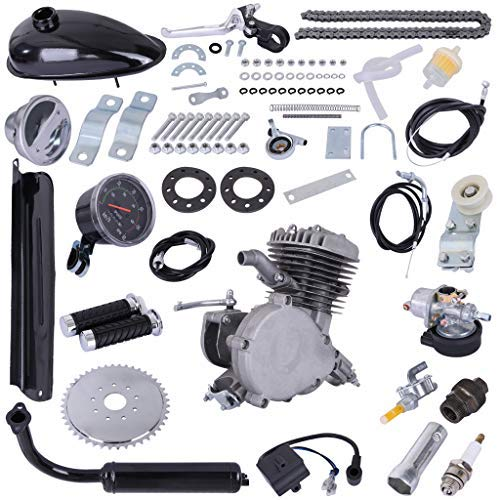 Fiudx Bicycle Motor, PK80 80cc Bicycle Engine Kit,2 Stroke Bicycle Motor Kit,Motorized Bicycle Engine Kit,Upgraded Complete Bike Motor Kit,Bike Engine Gas Motor Kit