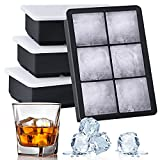 Kootek Ice Cube Trays 4 Pack - Silicone Ice Tray for Making 24 Pcs Large Ice Cubes, Easy Release Reusable Molds Maker with Removable Lids for Chilling Whiskey Wine Cocktail Beverages Juice (Black)