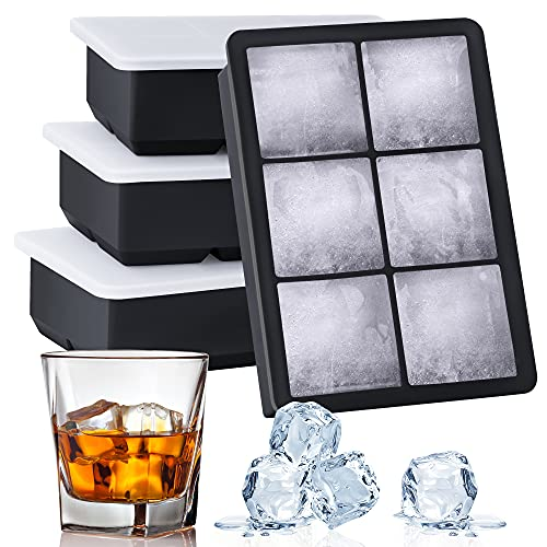 Kootek Ice Cube Trays 4 Pack - Silicone Ice Tray for Making 24 Pcs Large Ice Cubes, Easy Release...