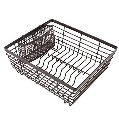 TQVAI Kitchen Dish Drying Rack with Full-Mesh Silverware Basket Holder, Brown