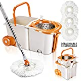 MASTERTOP 360 Magic Spin Mop Bucket System with Wheels Microfiber Floor Mop and Stainless Steel Spinning Bucket Set with 3Pcs Microfiber Mop Pad