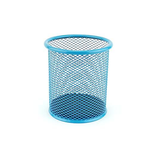 LEVIATAN Portalápices de malla metálica redondo | Portalápices de escritorio, estable | color azul | diámetro de 91 mm