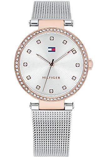 Tommy Hilfiger Damen Datum klassisch Quarz Uhr mit Edelstahl Armband 1781863