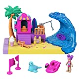 Polly Pocket Día en la playa Pollyville Set de juego con muñeca, mascota y accesorios, juguete +4 años (Mattel GTM68)