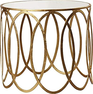 2f97db97c0477 Oval Design Iron Base End Table - End Table with Mirrored Glass Top - Gold