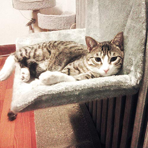 FYMIJJ pet bed,Cat Bed Removable Window Sill Cat Radiator Bed Hammock Perch Seat Lounge Pet Kitty Hanging Bed Cosy Cat Hammock Mount Pet Seat,Grey,46x30x25CM