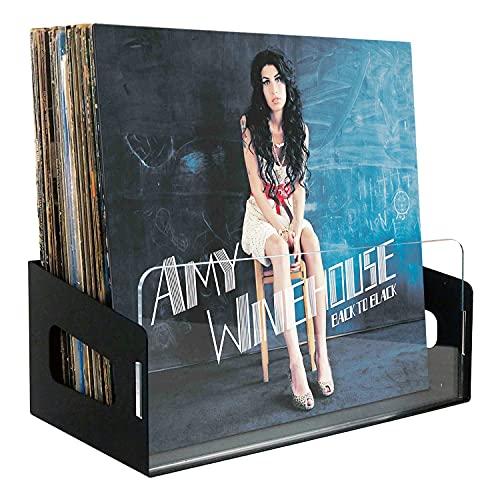 Noahrk Almacenamiento de discos de vinilo – soporte de pared de vinilo, estante de vinilo para 45 álbumes, estantes de discos de...