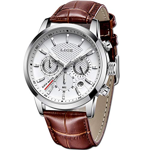LIGE Relojes Hombre Simple Casual Moda Relojes Hombre Lujo Negocio Analógico Cuarzo Relojes Clásico Marrón Cuero Relojes