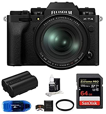 Fujifilm X-T4 Mirrorless Digital Camera with XF 16-80mm f/4 R OIS WR Lens (Black) Bundle, Includes: SanDisk 64GB Extreme PRO SDXC Memory Card, Spare Fujifilm NP-W235 Battery and More (7 Items) from FUJIFILM
