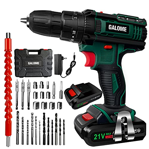 Cordless Drill Set, 21V Power Drill Driver with 2 Batteries and Charger, 350 In-lb Torque, 18+3 Clutch, 35Pcs Accessories Set in Kit for Drilling Brick, Metal, Wall, Wood