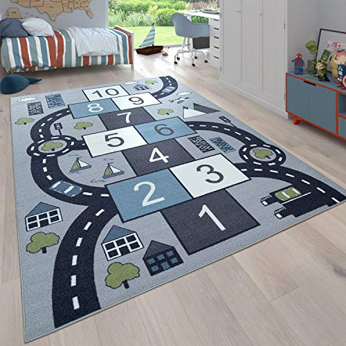 Paco Home Kinder-Teppich Für Kinderzimmer, Spiel-Teppich Mit Hüpfkästchen und Straßen, Grau, Grösse:140x200 cm