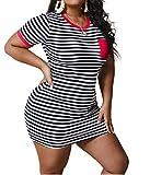 Plus Size Bodycon T Shirt Dress for Women Casual Short Sleeve Stripe Print Bodycon Tunic T-Shirt Mini Short Dress Red XL