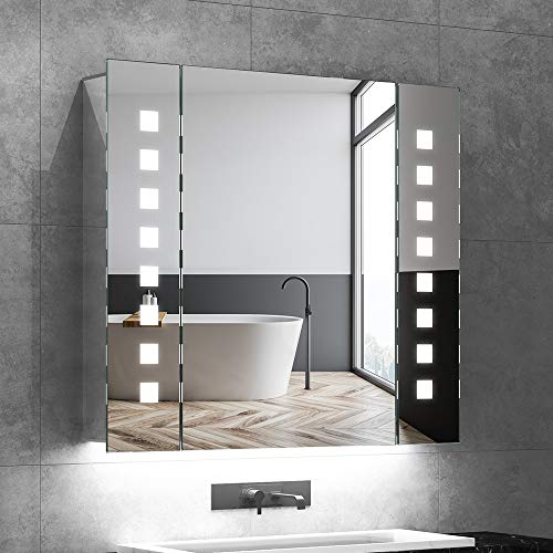 Quavikey Led-spiegelkast, aluminium, badkamer, spiegelkast met verlichting, lichtspiegelkast, achterverlichting, stopcontact, anti-beslag, infraroodsensor, schakelaar, 65 x 60 cm