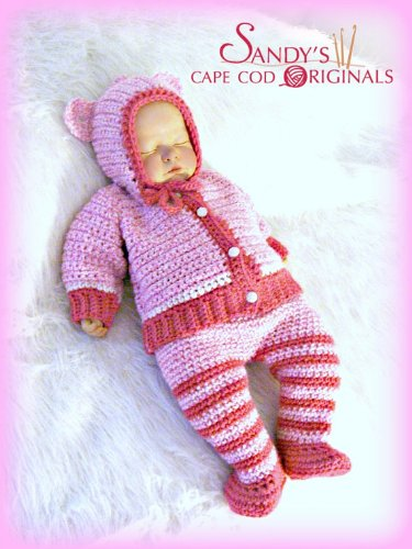 Animal Hooded Cardigan and Pants with Attached Booties Crochet Pattern PDF 639 (English Edition)