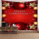 Daesar Tapiz 3D Grande Habitacion,Decoración de Navideño conMerry Christmas Tapiz Tela Pared Poliéster Rojo Amarillo Tapiz Decorativo Pared 150x130CM