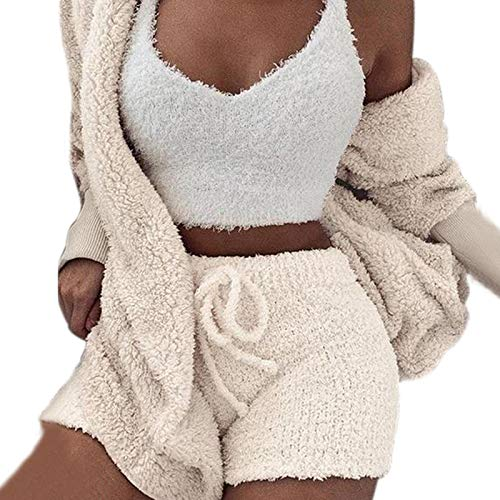 Womens Sexy Warm Fuzzy Fleece 3 Piece Outfits Pajamas, Sherpa Coat Jacket Outwear and Spaghetti Strap Crop Top Shorts Set (M, White)