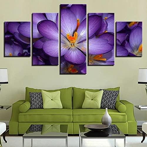 KOPASD 5 Piezas Ciudad de Noche de Arte de Pared impresión en Lienzo Flores moradas Arte Moderno para decoración del hogar